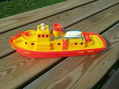 """Vintage Plastic 1950's Or 60's Rescue Boat.  14 1/2"""""""
