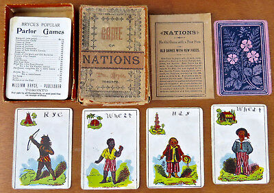 Circa1891 Card GAME OF NATIONS by WILLIAM BRYCE of TORONTO CANADA Complete w Box
