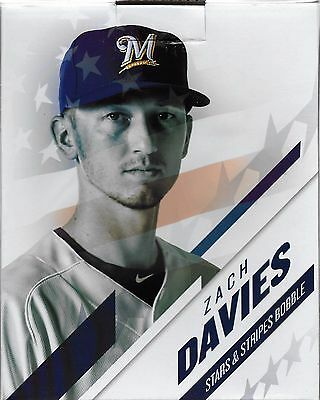 2017 Zach Davies Milwaukee Brewers Stars And Stripes Bobblehead 17 wins 9/19/17