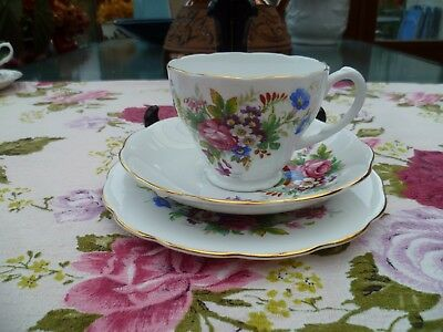 Pretty Vintage Roslyn English China Trio Tea Cup Saucer Plate Mixed Flowers R487