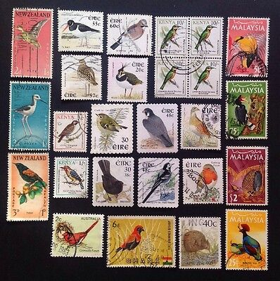 COMMONWEALTH-Beautiful Bird Selection (26) Used Stamps.