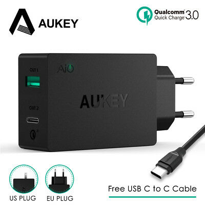 AUKEY 2-in-1 USB Charger Type C Quick Charger USB Universal Wall Charger Adapter