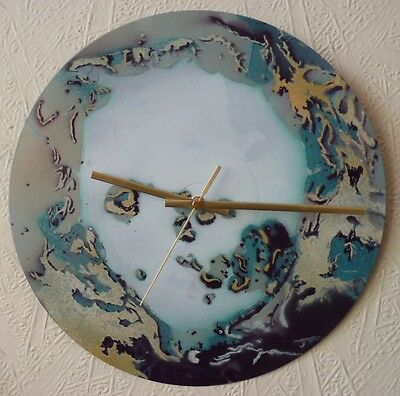 RADIOHEAD inspired wall clock..popart...recycled records..Glastonbury festival