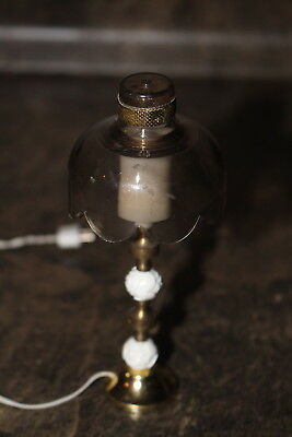 "Dollhouse Miniature Table Lamp Electric with small plug 4 1/2"" tall"