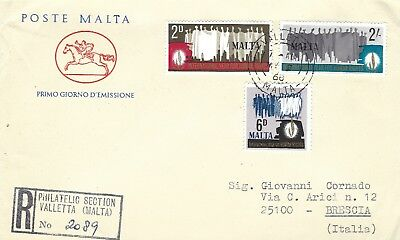 Malta To Italy : 1968  Fdc Poste Malta Three Covers See Bottom Left On Scans.