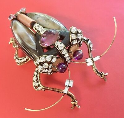"Gorgeous Iradj Moini signed 4"" Scarab / Beetle Insect Brooch Pin - ESTATE FIND!"