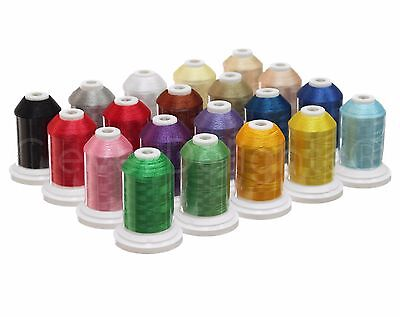 20 Color Embroidery Machine Thread Set - Jumbo 1100 Yd Spools - Polyester 40wt