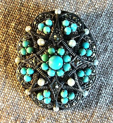 Silver, turquoise, seed pearl and marcasite vintage style  brooch/pendant