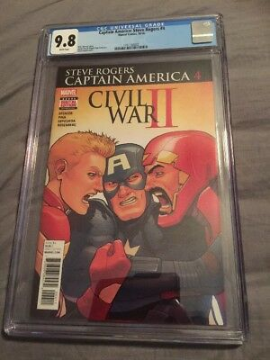Captain America Steve Rogers 4 Kuder Cover Civil War 2 Awesome! Iron Man CGC 9.8