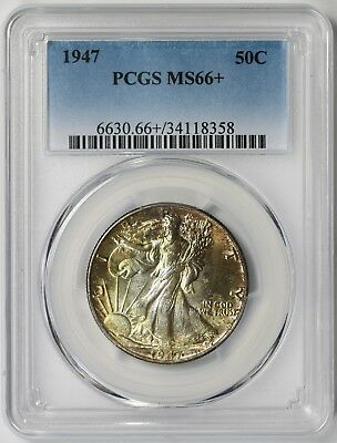 1947 Liberty Walking Half Dollar 50C MS 66+ Plus PCGS Toned