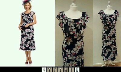"""sale"" Jacques Vert Dress Blue Floral ,lined, Angel Sleeves  Uk 10 Rrp £159"
