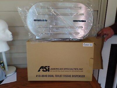 "ASI Surface Mounted 0040 Dual 9"" Roll Toilet Tissue Dispenser. New in Box."