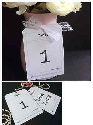 Luggage Tag Vintage Postcard Wedding Table Number Name Cards For Use With Stands