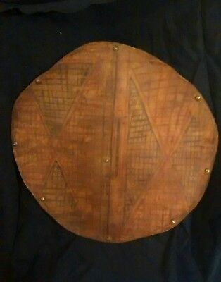 Rare 19th C Pre 1900's Native American Indian Ceremonial Buffalo Hide War Shield