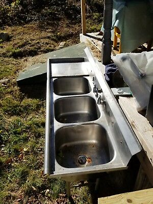 """76"""" Stainless Steel 3 Compartment Commercial Restaurant Sink Three NSF"""