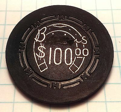 Binion's Horseshoe Casino Obsolete $100 H indent Black Cancelled Casino Chip