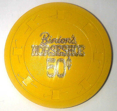 Binion's Horseshoe Casino Obsolete 50 cent Gold Top Hat and Cane Chip