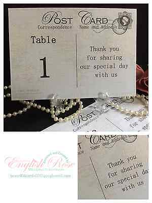 World Map Vintage Postcard Wedding Table Number Name Cards For Use With Stands