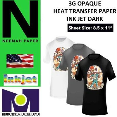 "HEAT TRANSFER PAPER 3G Opaque IRON ON DARK T SHIRT INKJET PAPER 5 PK 8.5""x11"" #1"