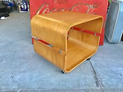 mid century modern tv table. end table. side table.bent wood. birch. on wheels