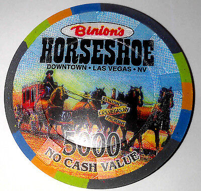 Binions Horseshoe Casino Obsolete $5000 Promotional NCV Casino Chip