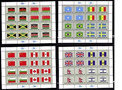 OddLots:™ UN • Scott # 399 - 414, 20¢ Flags, 16 Types, 4 Panes of 16, Mint, N H