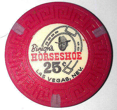 Binions Horseshoe Obsolete 25 cent Scroll mold casino chip