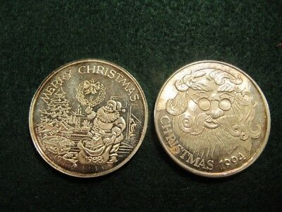 Rare Lot Of 2 X 1 Troy Oz Christmas .999 Fine Silver Rounds 1988-94