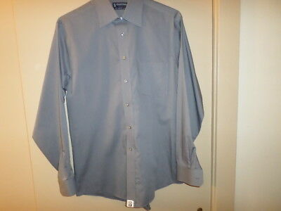Men's L/S Gray Cotton Blend Fitted Button Front Dress Shirt Stafford Essentials