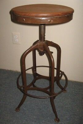 Vintage Industrial TOLEDO UHL Drafting Stool Machine Age Chair Factory Bar Loft