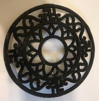 Vintage Pre-War Trivet Four Good Luck Symbols Metal Iron Sun Antique