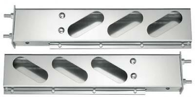 Stainless Steel Mud Flap Hanger Bar w/ Oval Light Cutouts Spring Loaded 3.75