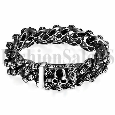 Mens Punk Heavy Stainless Steel Skull Biker Chain Holloween Bracelet Bangle Cuff