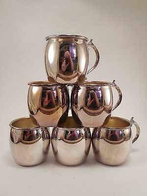 Vtg Lot of Six Towle Silverplated Silver Plate Moscow Mule Style Small Mugs