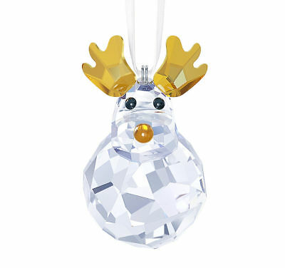 New In Box Retired Swarovski Crystal Rocking Reindeer Ornament 5189474