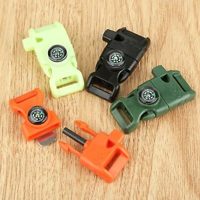 Multifunction EDC Survival Flint Whistle Parachute Cord Buckle Striking Tool