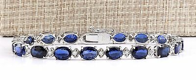 16.97Ctw Natural Sapphire And Diamond Bracelet  In 14K Solid White Gold