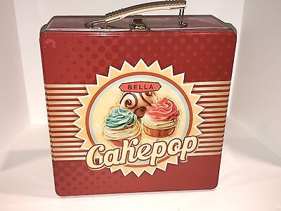 EXCELLENT Bella Cake Pop and Donut Hole Maker Grill Red In Tin Storage Case !