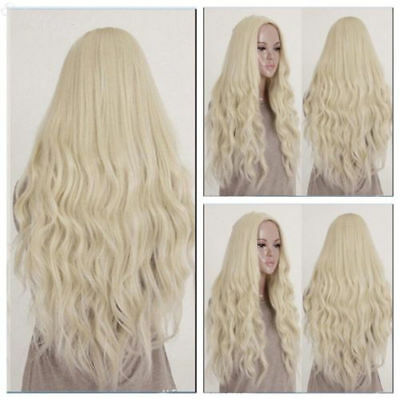 26 inch Heat Resistant Long Light Blonde Curly Wavy Cosplay Ladies Hair Full Wig