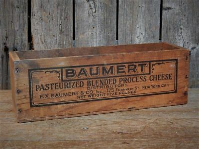 Antique Vintage Wood Baumert Dairy CHEESE CRATE NY Advertising Primitive BOX