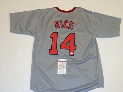 JIM RICE autographed signed Red Sox grey jersey JSA Witness