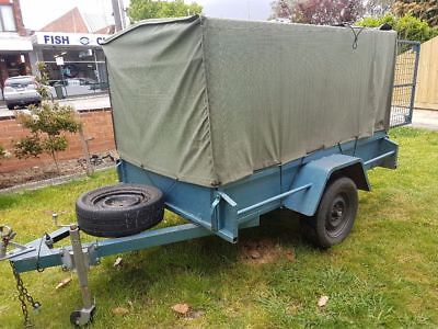 7 x 4 heavy duty trailer with cage and canvas cover