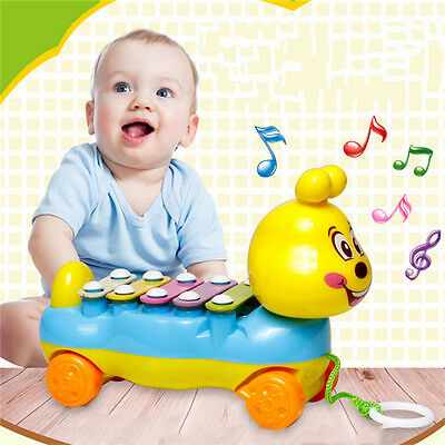 Baby Kids 5-Note Xylophone Pull-Along Musical Development Colorful Toy Gift 3C