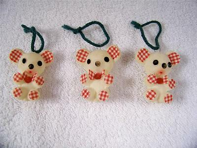 Flocked Christmas Mouse Lot of 3 Mice Vintage