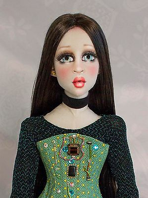 V3LVET Machina 25in All Cloth OOAK Boudoir Doll, Poseable Art Doll by Gayle Wray