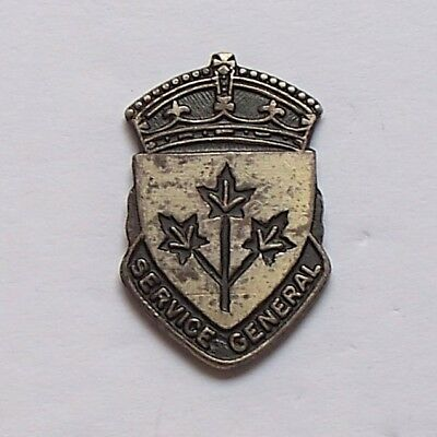 WWII Canada General Service Sterling Silver Lapel Pin / French Version