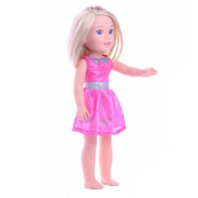 Fashion Handmade Rose Red Dress Party Clothes for 14'' American Girl Doll