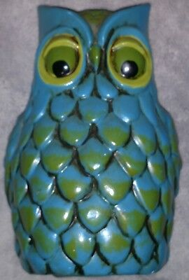 "Vintage 70's Takahashi Owl Coin Bank 6""  Figure Blue Green With Stopper"