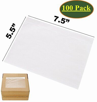 100x 7.5 x 5.5 Clear Packing List Pouches Shipping Label Envelopes Self Adhesive
