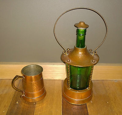Vintage 1960's German Musical Green Glass Decanter And Mug Copper